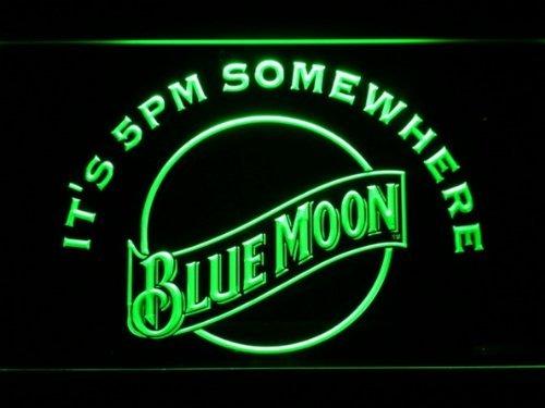 It's 5 Pm Somewhere Blue Moon Cerveza La Signatura LED El Acrílico Signo Iluminación El Bar Los Personajes De La Publicidad De Neón De Colour Verde De Escudo