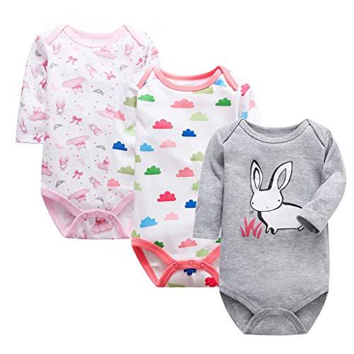 Bebé Body de Manga Larga Pack de 3 Mono Niños Niñas Mameluco Algodón Peleles Pijama Regalo de...