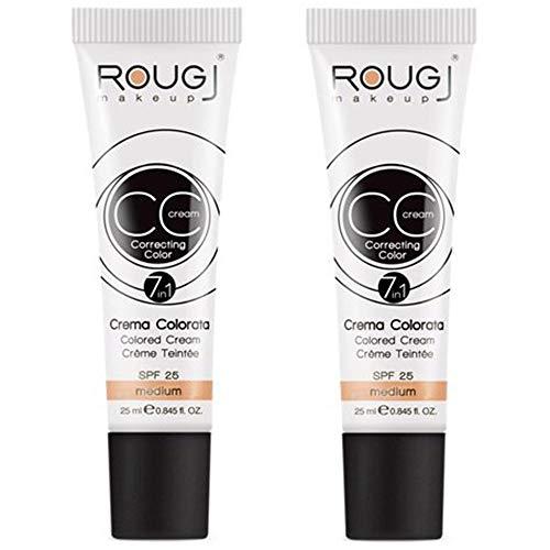 2x Rougj - CC Cream tonalità MEDIO - 25 ml con protezione SPF 25...