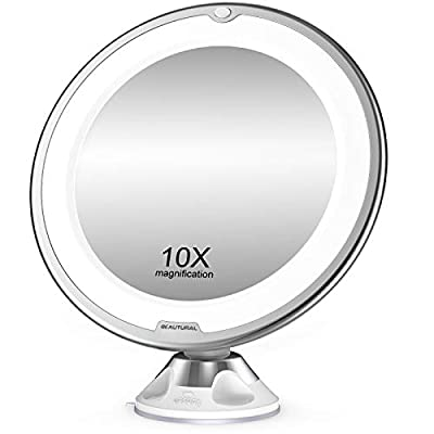 BEAUTURAL 10X Magnifying Makeup Mirror with Lights, Lighted Magnifying Vanity Makeup Mirror for Home Tabletop Bathroom Shower Travel, 360 Degree Rotation, Powerful Suction Cup