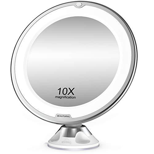 BEAUTURAL Espejo de Baño Mujer, Espejo Maquillaje con luz LED Aumento 10X, con Rótulo Giratorio Ajustable y Ventosa,a Pilas
