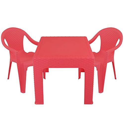 Kindertisch mit 2 Stühlen in Rattanoptik mit Farbwahl - Kinder Sitzgruppe - Kindertisch - Kinderstuhl (Rot)