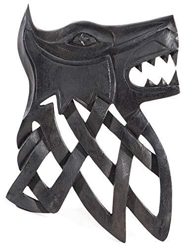 Windalf - Cuadro de Pared (25 cm, Hecho a Mano, Madera), diseño de Lobo
