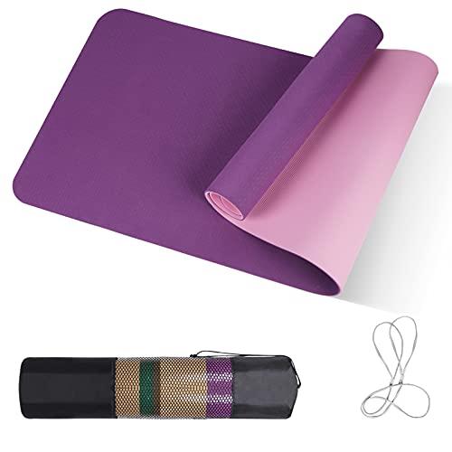 Tappetino da yoga Lila&Rosa, tappetino antiscivolo con texture double face, tappetino da ginnastica con tracolla e borsa, tappetino per yoga/pilates, ecologico in TPE, 183 x 61 x 0,8 cm