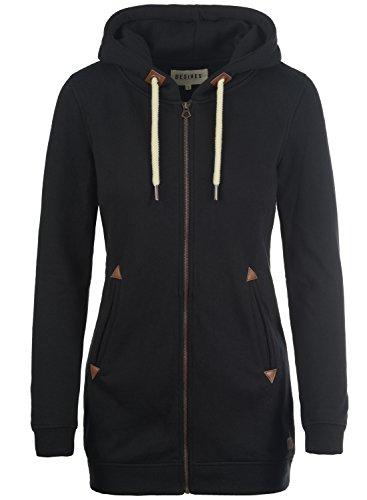 DESIRES Vicky Straight-Zip Damen Lange Sweatjacke Kapuzenjacke Sweatshirtjacke Mit Kapuze Und Fleece-Innenseite, Größe:M, Farbe:Black (9000)