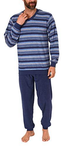 Toller Herren Frottee Pyjama Schlafanzug mit Bündchen - auch in Übergrössen - 291 93 704, Größe2:48, Farbe:blau