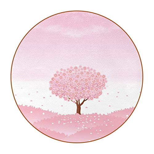 Coasters for Drinks Pink Warm Tree Cherry Designed Drink Coasters, (4.3 Inch, Round), Super Heat-Resistant Double-sided non-slip Coasters for Drinks, Great Housewarming Gift Set of 6