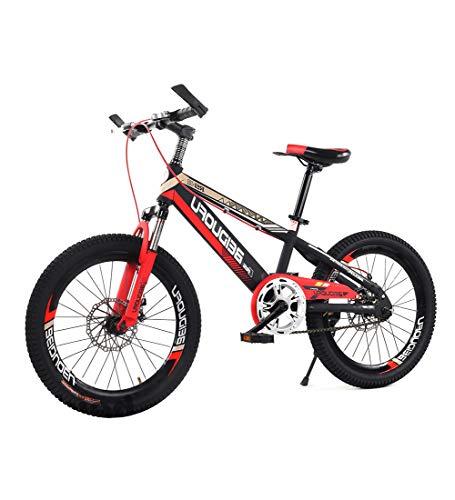 Bici da Città Strada Singola velocità Ruota 16/18/20 Pollici BMX Freestyle Bicicletta Mountain Bike Doppio Freno A Disco Assorbimento degli Urti Bicicletta per Bambini Rosso,18inch