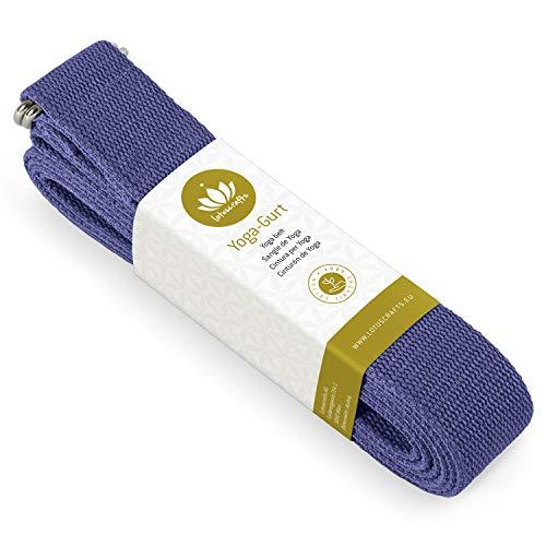 Lotuscrafts Cinghia Yoga Cotone - Cotone al 100% (Agricoltura Biologica Controllata) - Cinghie Yoga per Un Miglior Allungamento - Cintura Yoga con Chiusura in Metallo - Yoga Strap [250 x 3,8 cm]