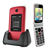 Ushining Senior Flip Phone Unlocked 3G SOS Big Button Unlocked T Mobile Flip Phone 2.8' LCD and Large Keypad Basic Cell Phone with Charging Cradle for Seniors & Kids(Red)