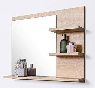 Miroit avec tablette, Miroir de Salle de Bain, Montage Mural, Chêne Sonoma, Miroir de courtoisie, P