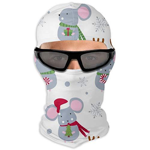 NOBRAND Volledige Gezicht Masker Kerst Leuke Muizen Muis Hood Zonnebrandcrème Masker Dubbele Laag Koud Voor Mannen En Vrouwen