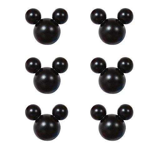アルファタカバ ディズニー ミッキー取っ手シリーズ ツマミつまみ 6個セット ブラック
