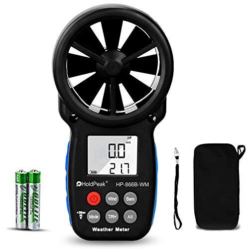 7 in 1 Digital Anemometer Hand, Windmesser Windmessgerät,Windgeschwindigkeitsmesser zur Messung von Windgeschwindigkeit, Luftdruck,Temperatur und Windchill mit LCD-Display und max/min(HP-866B-WM)