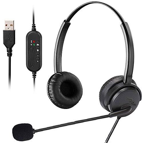 MKTBA Auriculares para Ordenador, Auriculares USB, diseño de PC, con cancelación de Ruido y Control de Volumen, micrófono para cursos en línea Skype Chat Call Center Conferencia (Black)