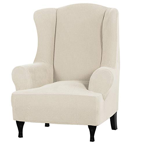 Stretch Wingback Chair Covers Wing Chair Slipcover Wing Chair Cover Furniture Covers for Wingback Chairs, Furniture Cover Feature Soft Thick Small Checked Jacquard Fabric, Biscotti Beige