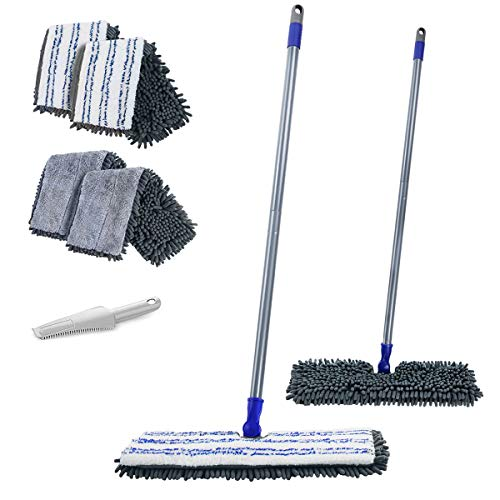 MASTERTOP Two Sided Dust Mop Floor Cleaning System - 360 Microfiber Mop,Wet Mop Dry Floor Cleaning Mop for Hardwood, Laminate, Vinyl, Tiles,4 Washable Soft Refill Pads, 1 Cleaning Mop Head Brush