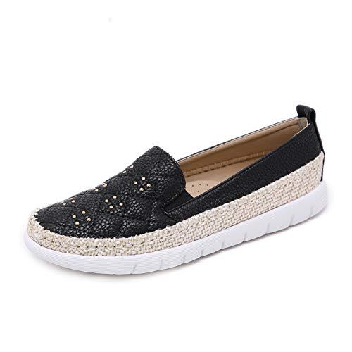 Morbuy Alpargatas para Mujer, Zapatos Planos Ocasionales Loafer Zapatos Moda Remache Cuerda de cáñamo Banda elástica 35-42 (EU38 Apto para pies de Longitud 240MM, Negro)