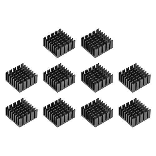 sourcing map 10x20x20mm Black Aluminum Heatsink Thermal Adhesive Pad Cooler for Cooling 3D Printers 10Pcs