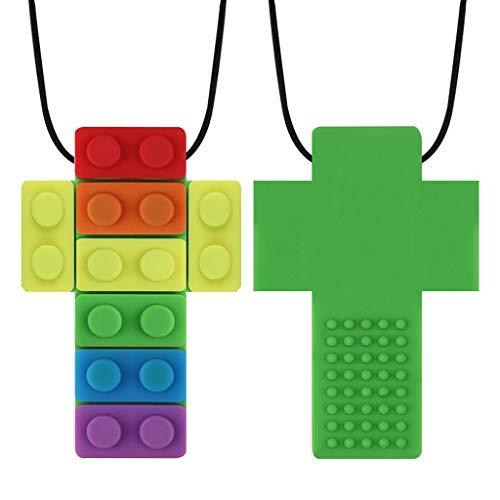 XIANGBEI Sensory Chew Collar Brick para niños, juguete para morder para bebés, refrescante, anillo de dentición, anillo de dentición para niños