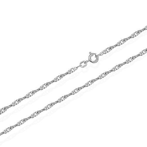 NKlaus Singapur 1 Silber Kette 3636 , 45 cm lang, 1,1 Gramm 1,2 mm breit