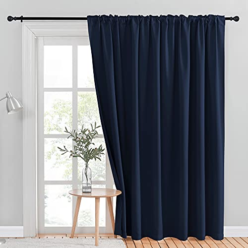 NICETOWN Blackout Wide Sliding Door Curtains - Insulated Noise Reduction Drapes, Privacy Vertical Blind for Living Room Bedroom Cafe Bar Bay Window (Navy, W100 x L95 inches, Sold Individually)