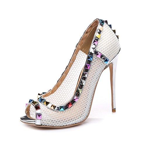 GIARO Sandaletten in Übergrößen Silber Milo Silver Mesh/Multi große Damenschuhe, Größe:43