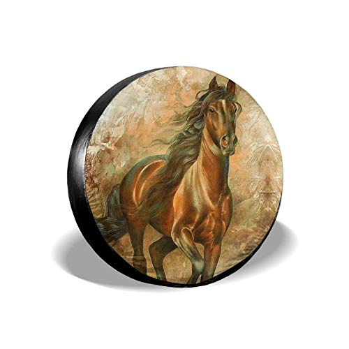 Xhayo Cubierta universal para neumáticos de repuesto para caballo de pintura, impermeable, a prueba de polvo, para remolques, RV, SUV y muchos vehículos (negro, diámetro 14-17')