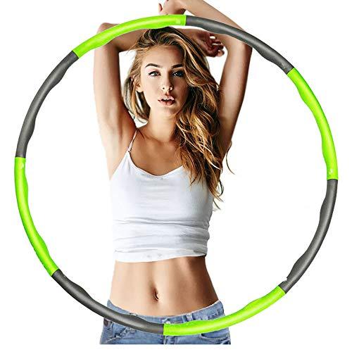 HS-XP Fitness-Hula-Reifen, Gewichtsverlust Und Massage-Design Für Erwachsene, Hochwertiger Schaumstoff, Komfortabler, Längere Lebensdauer 6~8 Abschnitte,Green+Grey,6