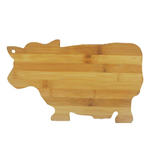 JB Home Collection 4576, Bamboo Wood Cow Cutting Board Cow Shaped Serving Board 13.5' x 9'