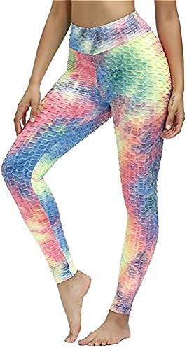 LIUPING Leggings De Gimnasio De Cintura Alta con Forma De Panal para Mujer, Pantalones De Yoga para Correr (Color : Multicolored, Size : Medium)