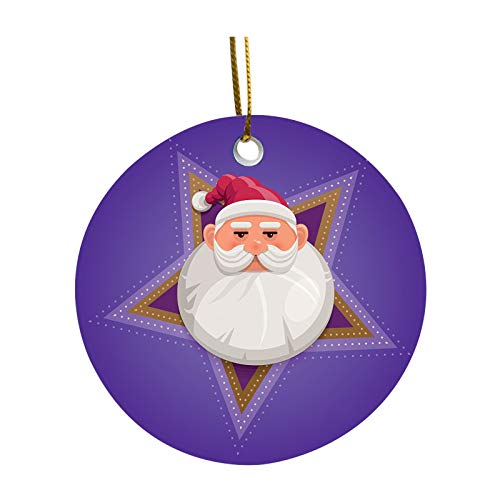1PC Christmas Round Holiday Ornaments Christmas Tree DIY Plexiglass Ceramic Decorations Pendant Faceless Old Man Hanging Ornaments Snowman Snowflake Decoration Pendant Crafts