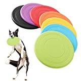 Tipatyard 7 Pack Dog Frisbee Silicone,Dog Frisbee Toys Dog Floating Saucer Rubber Flying Disc Puppy...