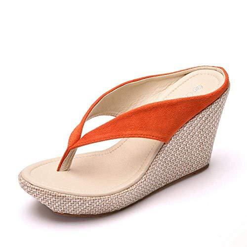 Las zapatillas de algodn unisex para otoo e invi Drene el bao rpido de la mula, la pendiente con chanclas, pastel de esponja con zapatillas de plataforma-orange_42, zapato de la playa de la playa