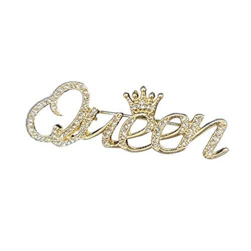 Brooch Pin for Women, Fashion Rhinestone Queen Letter Crown Shape Decor Brooch Pin Jewelry Gift - Golden