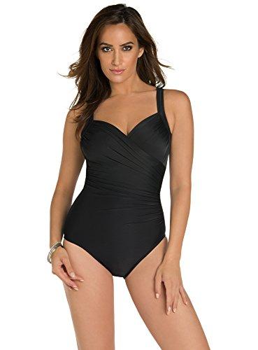 Miraclesuit Women's Swimwear DD-Cup Solids Sanibel Sweetheart Neckline Underwire Bra One Piece Swimsuit, Black, 12DD