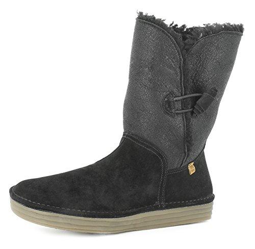 El Naturalista N5055 Rice Field Damen Winterstiefel,Frauen Winter-Boots,Fellboots,Lammfellstiefel,Fellstiefel,gefüttert,warm,Black,EU 38