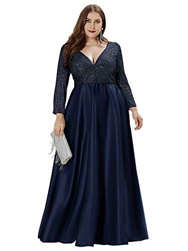 Ever-Pretty Damen Abendkleid Pailletten A-Linie V Ausschnitt Lange Ärmel große Größe Navy blau 54