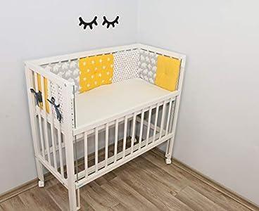ULLENBOOM Protector para bordes de cuna │ Chichonera bebé también para colecho │ Parachoques de algodón 170x30 cm │ elefantes amarillo