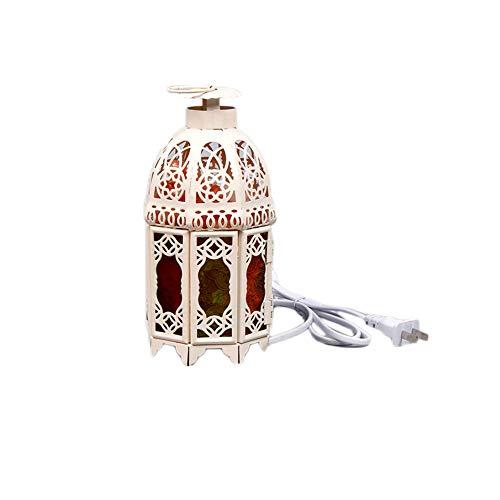 BKKJW lámpara del Himalaya de cristal natural grabado de iones negativos de hierro forjado en forma de castillo interruptor regulador