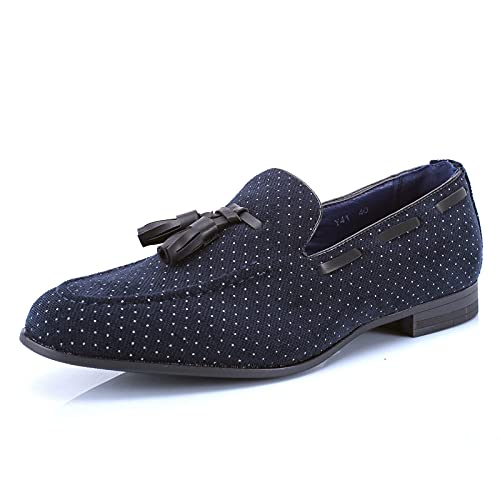 scarpe francesine uomo MForshop Scarpe Uomo Francesine Parigine Mocassino Tessuto Pois Nappine Elegante Moda y41 - Blu