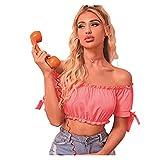 Top corto sexy con hombros descubiertos y volantes y manga abullonada para mujer (color rosa, tamaño: grande)