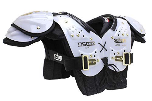 Schutt Sports DS Flex 2.0 All-Purpose Youth Football Shoulder Pads, White/Gold, Medium