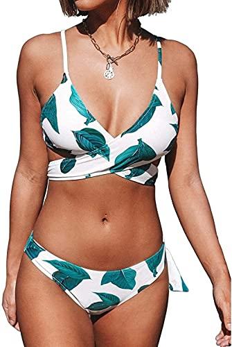 MAIGOU Maillot de bain sexy pour femme - Imprimé feuilles fraîches - Rembourré - Blanc et vert - Bikini à lacets