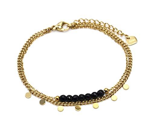 Oh My Shop BC4295 - Pulsera de doble cadena, diseño de mini paletas, acero dorado y piedras negras
