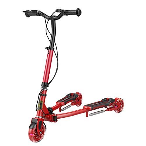 Dongxiao Patinete Swing Wiggle Scooter Wiggle Scooter para Niños/Edad Adulto 5 Años de Edad y hasta 3 Ruedas Altura Ajustable Plegable (Color : Red)