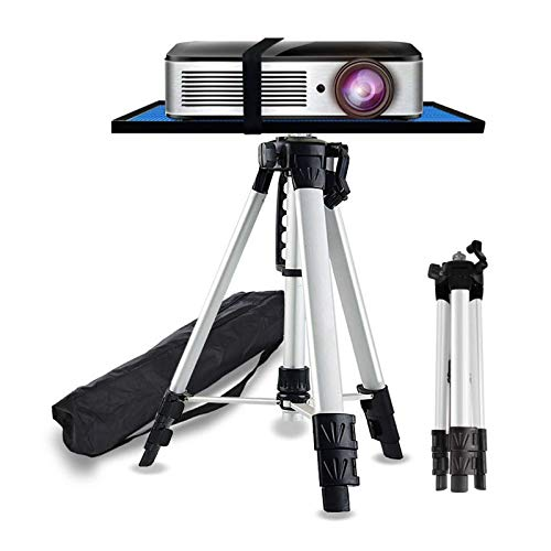 ERTYU Projector Floor Stand Tripod Foldable,Aluminum Multifunction Tripod Stand with Tray, Computer Stand Adjustable Height 17'' To 47'' for Laptop And Projector Silver