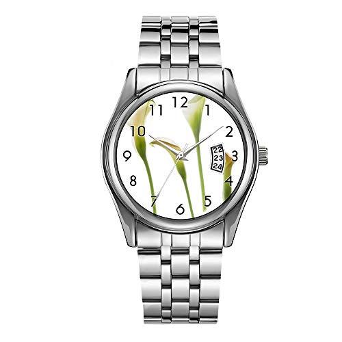 Reloj de lujo de los hombres 30 m impermeable fecha reloj masculino deportes relojes hombres cuarzo casual Navidad reloj de pulsera cala lirio flor tallos florales lirios jardín relojes de pulsera