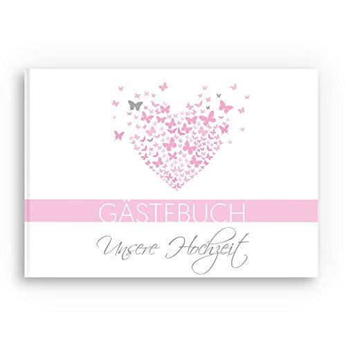 bigdaygraphix Gästebuch Hochzeit Hochzeitsbuch mit Fragen A4 quer Schmetterling rosa