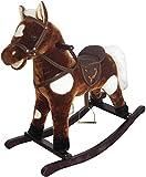 The Rocking Horse Co Nuevo Felpa Caballito Caballo - Marrón + Blanco Puntos Deluxe Crin Sillín Brida Sonidos